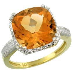 Natural 5.96 ctw Citrine & Diamond Engagement Ring 14K Yellow Gold - REF-42N3G