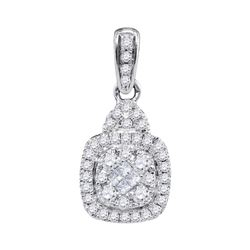 0.44 CTW Princess Diamond Square Cluster Pendant 14KT White Gold - REF-44M9H