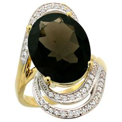 Natural 11.2 ctw smoky-topaz & Diamond Engagement Ring 14K Yellow Gold - REF-95H8W