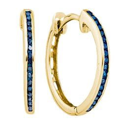 0.10 CTW Blue Color Diamond Hoop Earrings 10KT Yellow Gold - REF-12X2Y