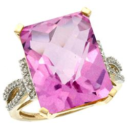 Natural 12.14 ctw Pink-topaz & Diamond Engagement Ring 10K Yellow Gold - REF-53W2K