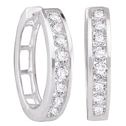 0.25 CTW Diamond Hoop Earrings 14KT White Gold - REF-26H3M