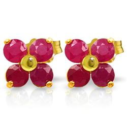 Genuine 1.15 ctw Ruby Earrings Jewelry 14KT Yellow Gold - REF-21P9H