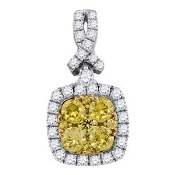0.99 CTW Yellow Diamond Cluster Square Pendant 14KT White Gold - REF-89N9F