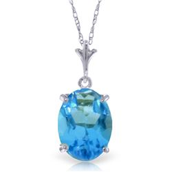 Genuine 3.12 ctw Blue Topaz Necklace Jewelry 14KT White Gold - REF-22Z2N