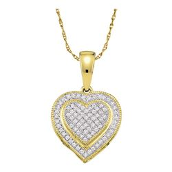 0.15 CTW Diamond Layered Heart Cluster Pendant 10KT Yellow Gold - REF-14F9N