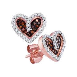 0.20 CTW Red Color Diamond Heart Love Screwback Earrings 10KT Rose Gold - REF-22H4M
