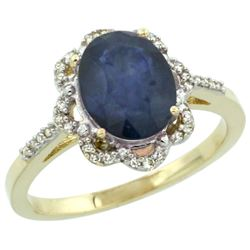 Natural 2.25 ctw Blue-sapphire & Diamond Engagement Ring 10K Yellow Gold - REF-43G2M