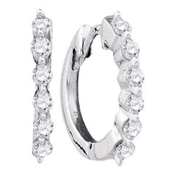 0.25 CTW Pave-set Diamond Hoop Earrings 14KT White Gold - REF-22M4H