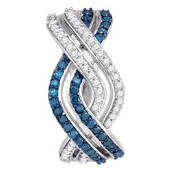 0.60 CTWBlue Color Diamond Entwined Woven Hoop Earrings 10KT White Gold - REF-40W4K