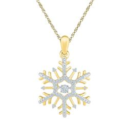 0.17 CTW Diamond Snowflake Winter Cluster Pendant 10KT Yellow Gold - REF-19X4Y