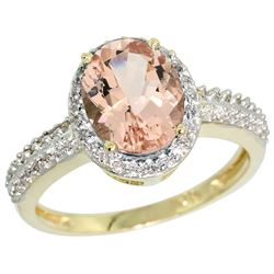 Natural 1.86 ctw Morganite & Diamond Engagement Ring 14K Yellow Gold - REF-50G3M