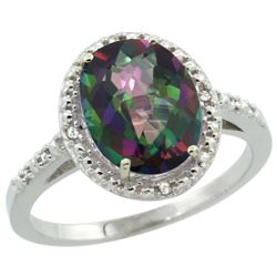 Natural 2.42 ctw Mystic-topaz & Diamond Engagement Ring 14K White Gold - REF-34Y7X