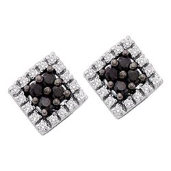 0.25 CTW Black Color Diamond Square Cluster Earrings 14KT White Gold - REF-18F2N
