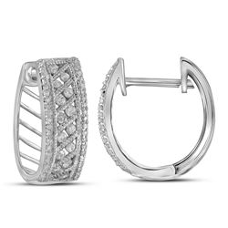 0.68 CTW Diamond Hoop Earrings 10KT White Gold - REF-49M5H