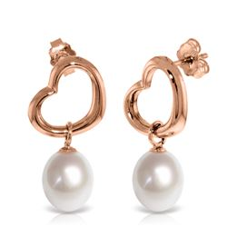 Genuine 8 ctw Pearl Earrings Jewelry 14KT Rose Gold - REF-39T4A