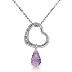 Genuine 2.28 ctw Amethyst & Diamond Necklace Jewelry 14KT White Gold - REF-40A7K