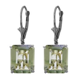 Genuine 13 ctw Green Amethyst Earrings Jewelry 14KT White Gold - REF-54V2W