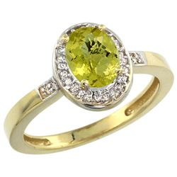 Natural 1.08 ctw Lemon-quartz & Diamond Engagement Ring 14K Yellow Gold - REF-30R9Z