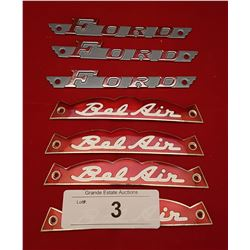 SEVEN VINTAGE FORD & BEL AIR EMBLEMS