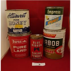 FIVE VINTAGE COLLECTIBLE TINS,