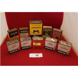 TEN VINTAGE SPICE TINS