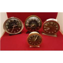 FOUR VINTAGE WIND UP ALARM CLOCKS