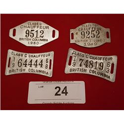 VINTAGE BC CHAUFFEUR LICENSE TAGS