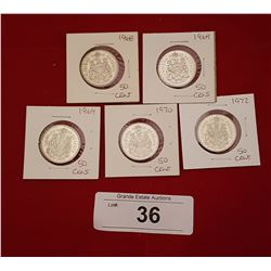 FIVE VINTAGE 50 CENT CANADIAN COINS
