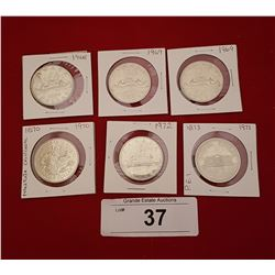 SIX VINTAGE $1 CANADIAN COINS 1968-1973