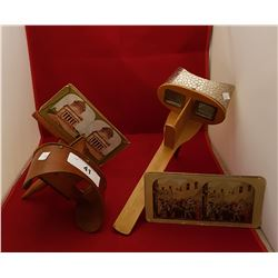 TWO ANTIQUE STEROSCOPE VIEWERS WITH 10 PICTURE CARDS