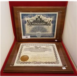 TWO FRAMED ORIGINAL STOCK CERTIFICATES