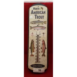 NORTH AMERICAN TROUT METAL THERMOMETER
