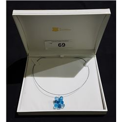 14KT WHTIE GOLD NATURAL BLUE TOPAZ 2.70CT TEARDROP BEEHIVE CUT NECKLACE