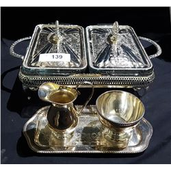 SILVERPLATE LIDDED DOUBLE SERVING DISH & CREAM & SUGAR ON TRAY