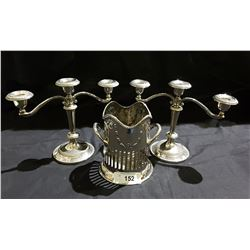 PAIR SILVERPLATE CANDLEBRA & WINE BOTTLE HOLDER