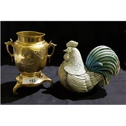 ASIAN BRASS JARDINIERE & CARVED WOOD ROOSTER