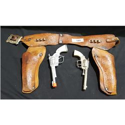 VINTAGE CHILD'S LEATHER GUNBELT & CAP GUNS