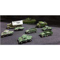 LOT OF 9 VINTAGE LESNEY & DINKY DIE CAST ARMY VEHICLES