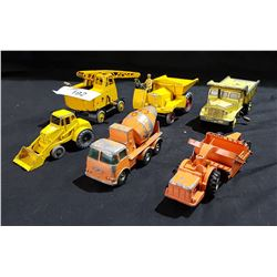 LOT OF 6 VINTAGE LESNEY & DINKY DIE CAST CONSTRUCTION VEHICLES