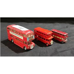LOT OF 3 VINTAGE LESNEY & DINKY DIE CAST DOUBLE DECKER BUSES