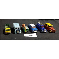 LOT OF 6 VINTAGE LESNEY & DINKY DIE CAST CARS