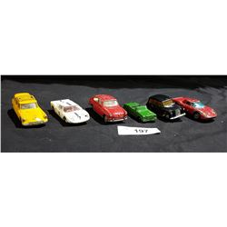 LOT OF 6 VINTAGE CORGI & DINKY DIE CAST CARS