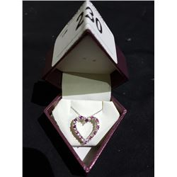 STERLING SILVER PINK SAPPHIRE HEART PENDANT
