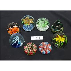 LOT OF 8 ART GLASS PAPERWEIGHTS