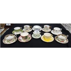 LOT OF 10 BONE CHINA TEACUPS/SAUCERS