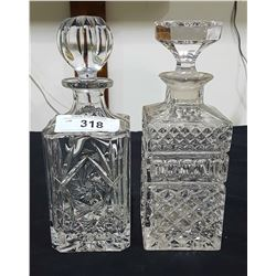 TWO WHISKEY DECANTERS