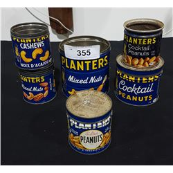 LOT OF 6 VINTAGE PLANTER'S NUTS TINS