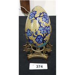 CLOISONNE EGG ON STAND