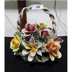 LARGE CAPODIMONTE FLORAL BASKET